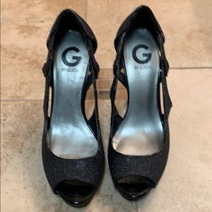 Guess open toe black glitter heels